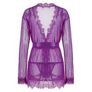 Sheer Wrap Lace Trim Kimono Dress - Pourpre L