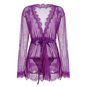 Sheer Wrap Lace Trim Kimono Dress