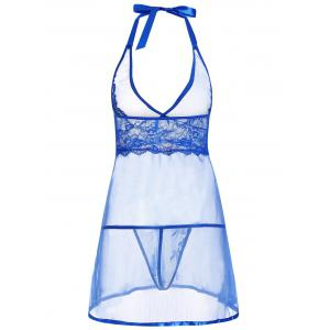 Low Cut Sheer Backless Babydoll - BLUE S