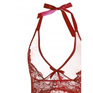 Bonbons Backless Sheer Low Cut - Rouge vineux  2XL