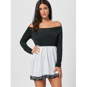 Off The Shoulder Mini Fit and Flare Dress - BLACK M