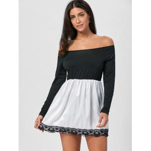 Off The Shoulder Mini Fit and Flare Dress - BLACK L