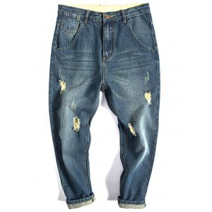 Flap Pocket Distressed Tapered Jeans