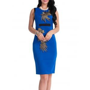 Bodycon Knee Length Floral Patch Dress - Blue - Xl