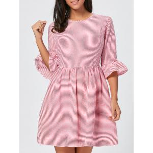 Ruffle Sleeve Striped Seersucker Dress