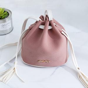 Tassel Drawstring Faux Suede Bucket Bag - Pink - 38