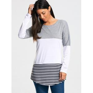 Color Block Striped Long Sleeve T-shirt - GRAY 2XL