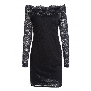 Off The Shoulder Long Sleeve Lace Dress - Black - Xl