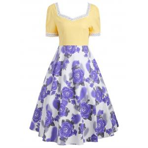 Flower Print Sweetheart Neck 50s Swing Dress