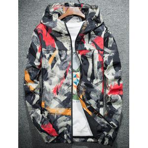 Camouflage Splatter Paint Lightweight Jacket - RED 4XL