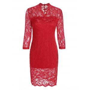 V Neck Lace Tight Fitted Sheath Dress