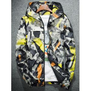 Camouflage Splatter Paint Lightweight Jacket - Jaune 3XL