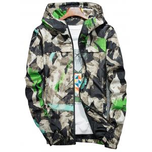 Camouflage Splatter Paint Lightweight Jacket - Green - 4xl