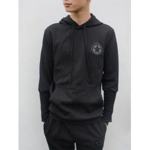 Star Embroidered Geometric Emboss Hoodie Twinset - Noir L