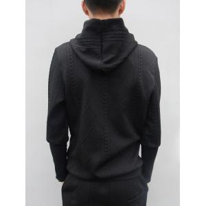 Star Embroidered Geometric Emboss Hoodie Twinset - Noir XL