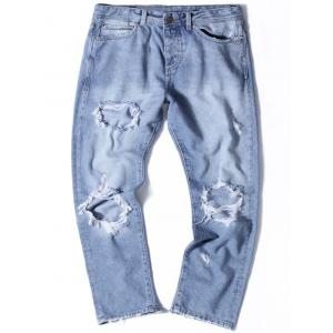 Light Wash Straight Distressed Jeans