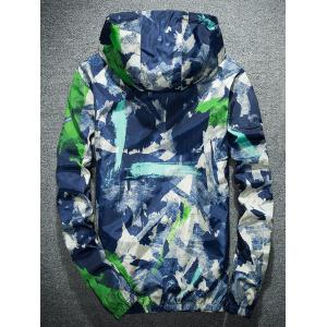 Camouflage Splatter Paint Lightweight Jacket - BLUE XL