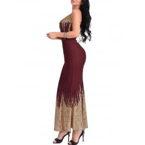 Open Back Maxi Carpet Formal Dress - WINE RED XL