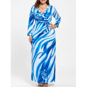 Plus Size Plunging Neck Long Sleeve Print Dress