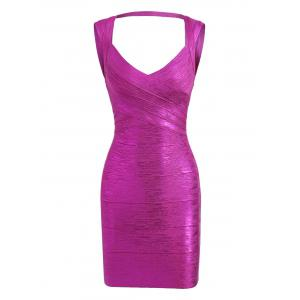 Cut Out Bronzing Sweetheart Neck Bandage Dress