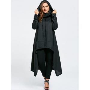 Plus Size Maxi Asymmetric Funnel Collar Hoodie - Black - 5xl