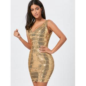 Sequins Glitter Bandage Dress - Or S