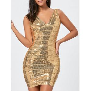 Sequins Glitter Bandage Dress - Golden - Xl