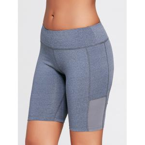 Elastic Waist Sports Shorts with Pocket - DEEP GRAY L