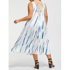 Plus Size Sleeveless Tie-Dyed Maxi Dress - White - 4xl