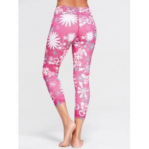Sunflower Print Crop Running Tights - TUTTI FRUTTI XL