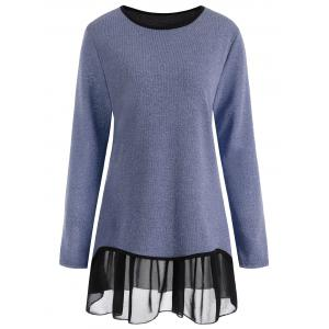 Plus Size Overlay Drop Waist Knitwear