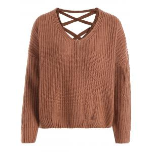 Drop Shoulder Lace Up Plus Size Sweater - LIGHT BROWN ONE SIZE