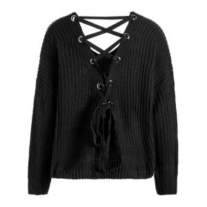 Drop Shoulder Lace Up Plus Size Sweater
