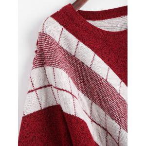 Fringed Geometric Poncho Plus Size Sweater - WINE RED ONE SIZE