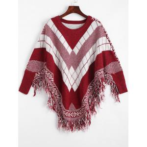 Fringed Geometric Poncho Plus Size Sweater - Wine Red - One Size