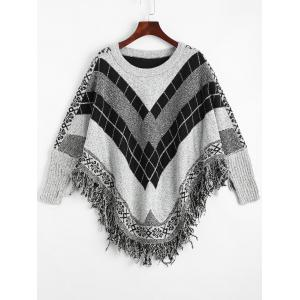 Fringed Geometric Poncho Plus Size Sweater