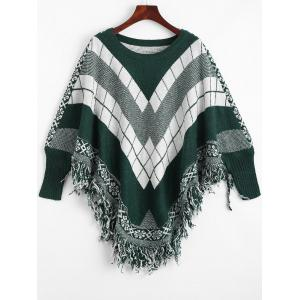 Fringed Geometric Poncho Plus Size Sweater - Blackish Green - One Size