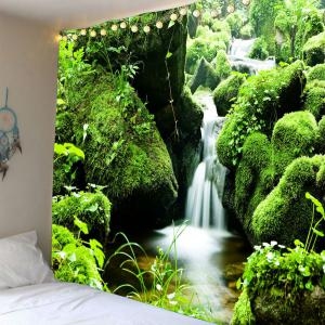 Mosses Stream Wall Art Waterproof Hanging Tapestry - Green - W59 Inch * L51 Inch