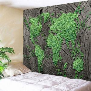 Stump Plants World Map Bedroom Wall Tapestry
