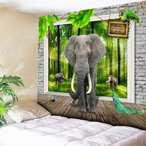 3D Elephant Printed Bedroom Wall Tapestry - Green - W59 Inch * L59 Inch