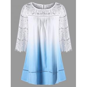 Lace Yoke Ombre Longline Top - Cloudy - 2xl