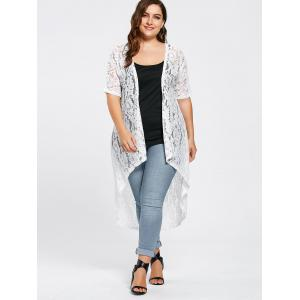 White 5xl Plus Size Long Open Front Lace Crochet Cardigan ...