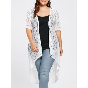 Plus Size  Long Open Front Lace Crochet Cardigan