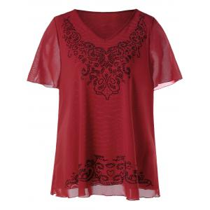 Plus Size V-neck Rhinestone Embellished Top