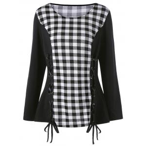 Plus Size Lace Up Long Sleeve Plaid Top