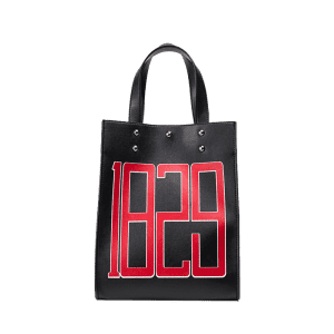 Figure Print Studded Tote Bag - BLACK