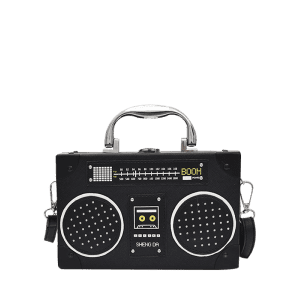 Radio Shaped Faux Leather Crossbody Bag - BLACK