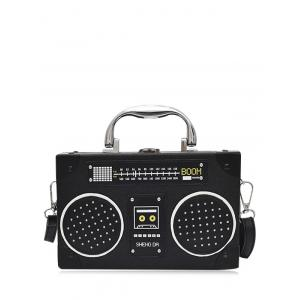 Radio Shaped Faux Leather Crossbody Bag - Black - 2xl