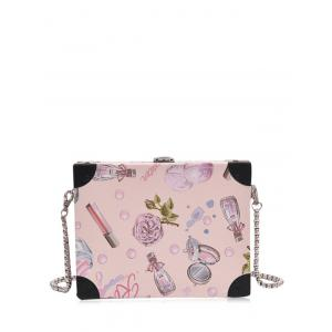 Floral Print Faux Leather Crossbody Bag - Light Pink