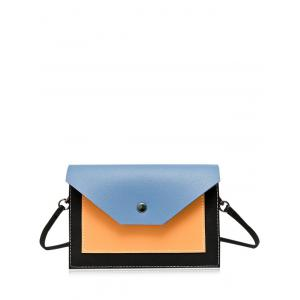 Flapped Color Blocking Cross Body Bag - Blue - 39
